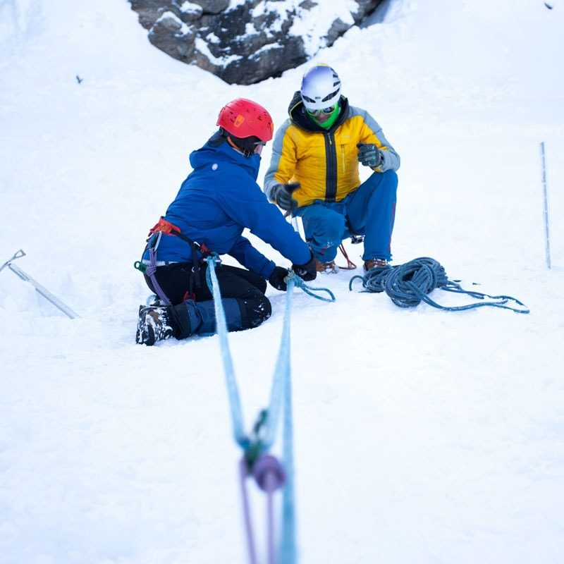 Students on a Crevasse Rescue course practice building a 3:1 hauling system.