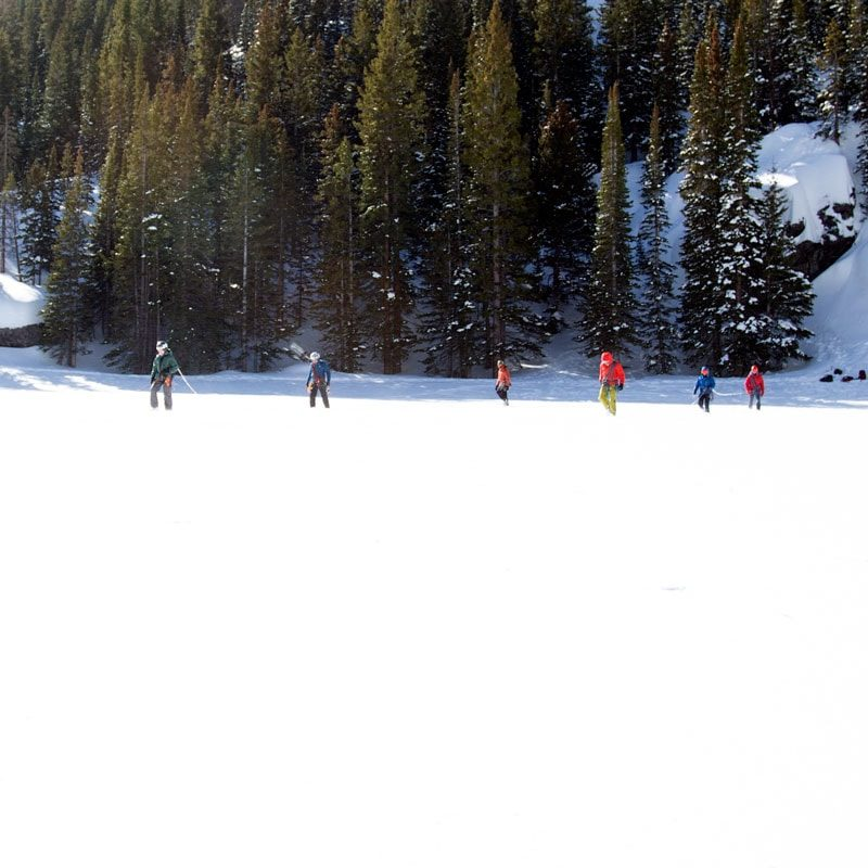 Student practice traveling as a roped team on a Crevasse Rescue course in Colorado.