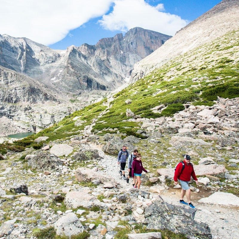 A group of hikers pass through Chasm Junction, below Longs Peak, in Rocky Mountain National Park.