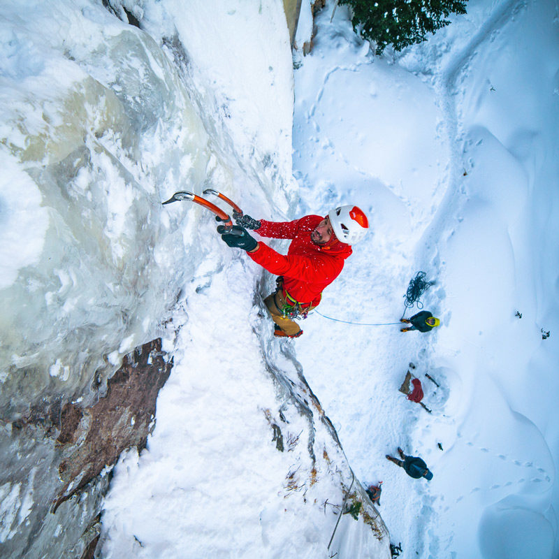 Colorado Mountain School Guide, Max Lurie, leads a pitch during an advanced ice climbing course in Rocky Mountain National Park, Colorado