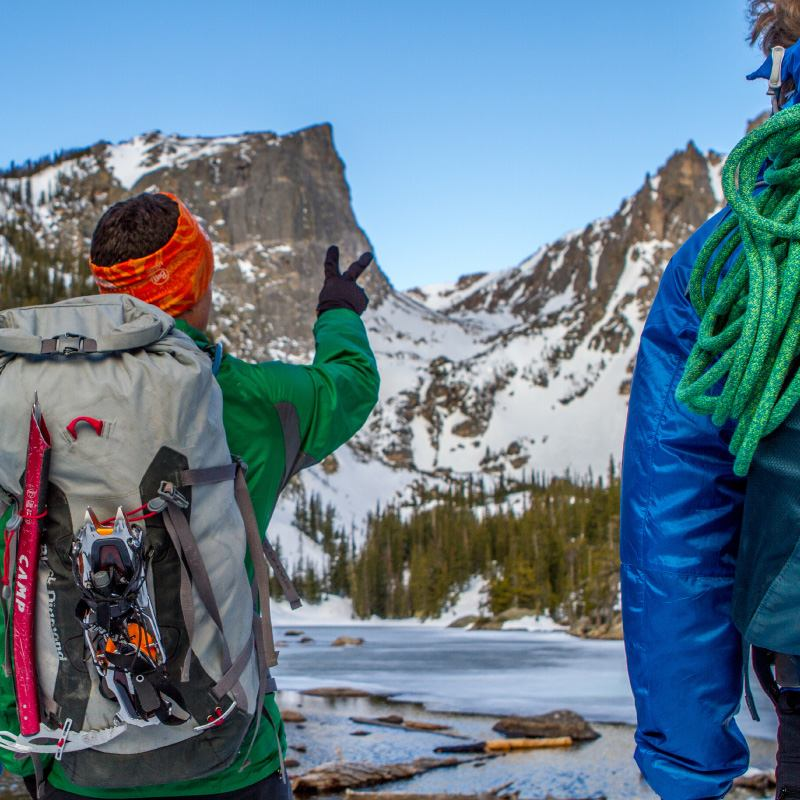 Colorado Mountain School Guide points to a mountaineering route in Rocky Mountain National Park