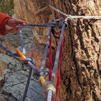 5:1 pulley used in a mock rock climbing rescue scenario.
