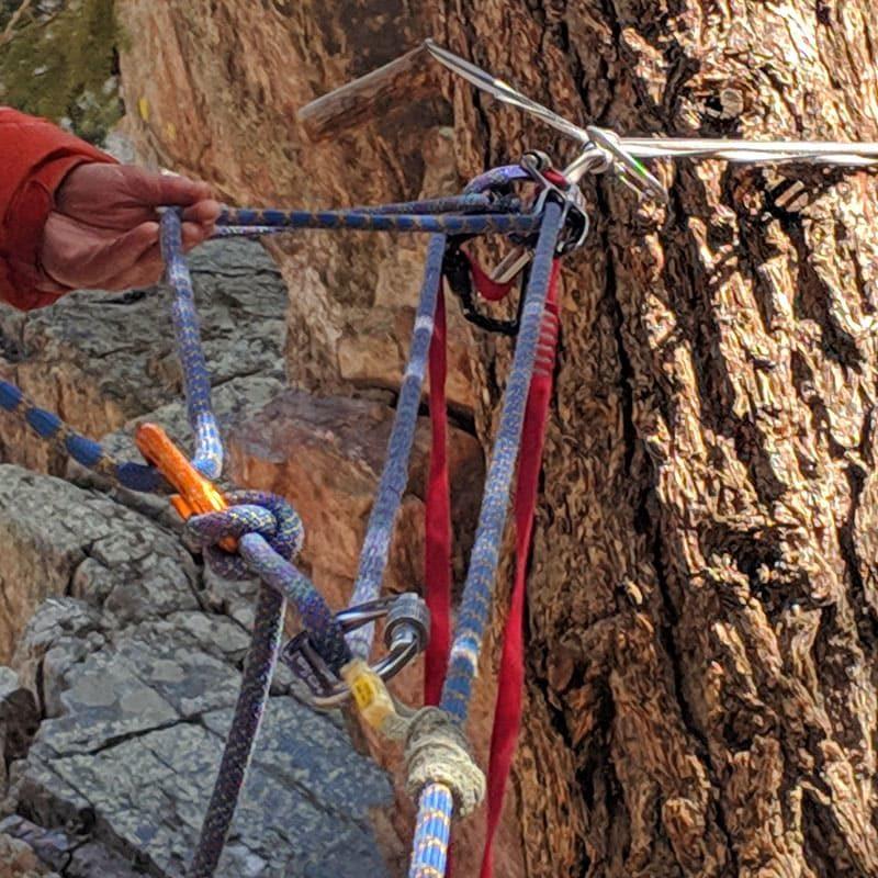 5:1 pulley used in a mock rock climbing rescue scenario.
