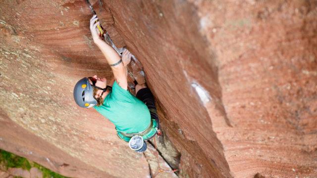 AMGA Rock Guide leads a climb on The Bastille in Eldorado Canyon, near Boulder, Colorado.