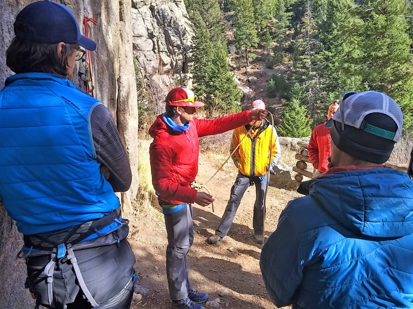 An Instructor teaches SPI Course candidates on an AMGA Single Pitch Instructor Course in Boulder, Colorado