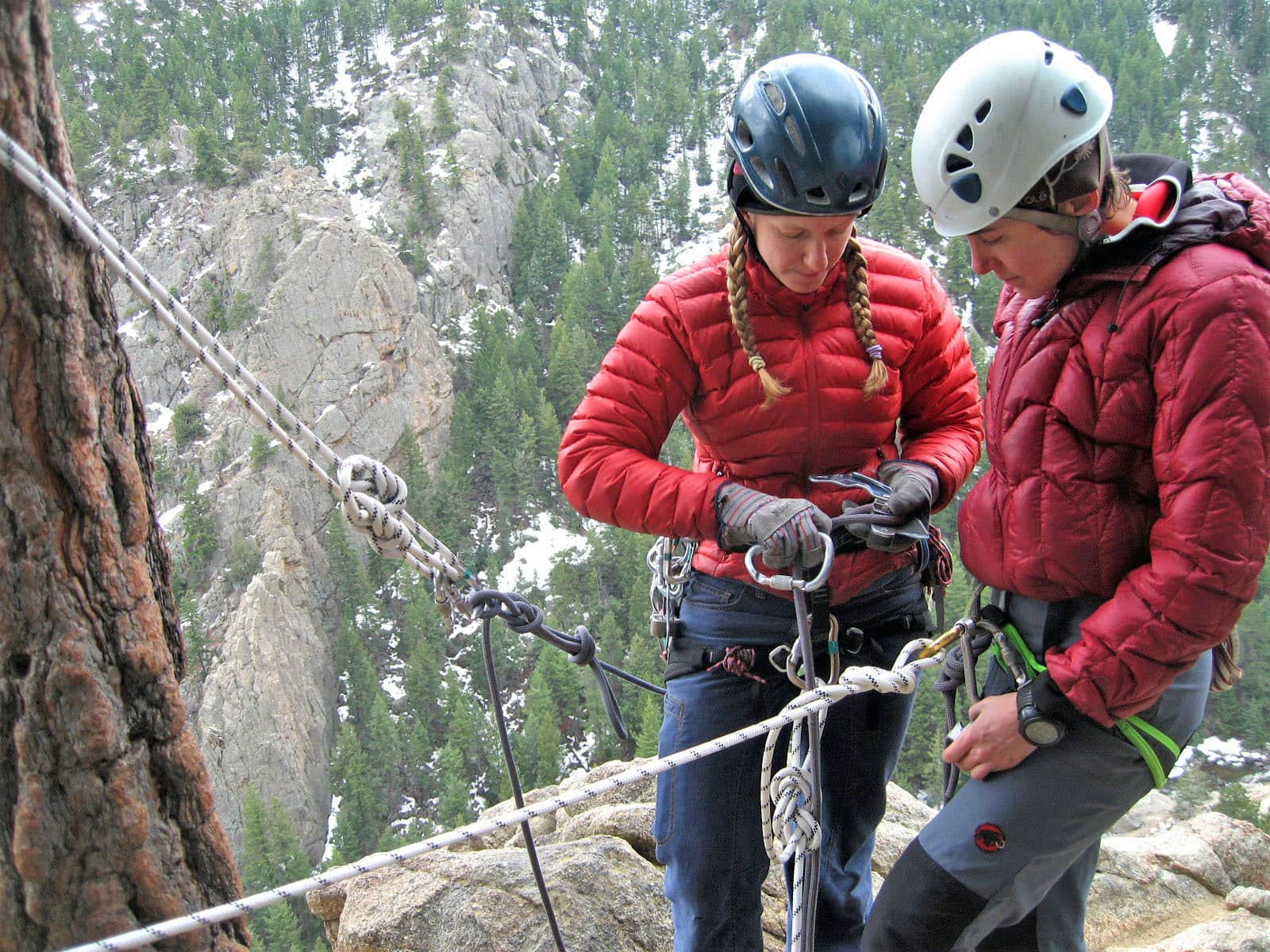 SPI Candidates learn rock climbing rescue techniques on an AMGA Single Pitch Instructor Course in Denver, Colorado