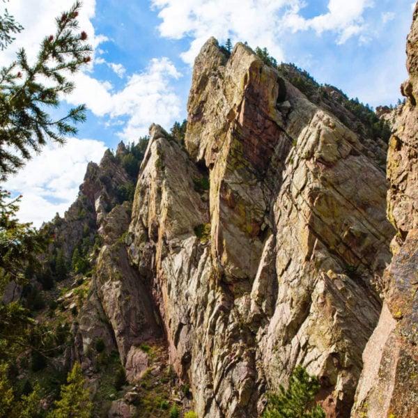 A view of one of the many rock climbing crags of Eldorado Canyon State Park in Colorado.
