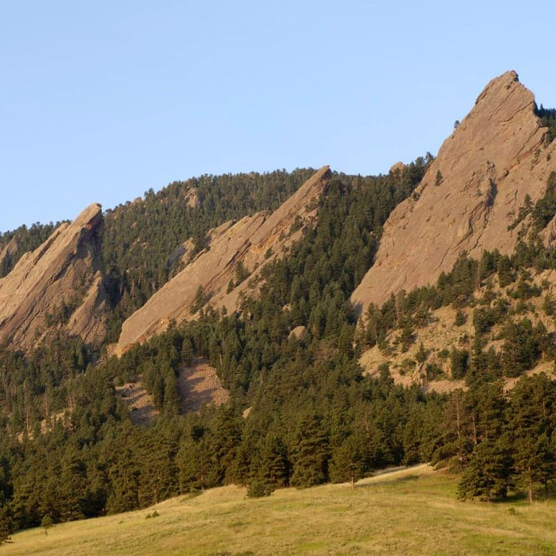 Panoramic view of the Third, Second and First Flatiron above Boulder, Colorado.