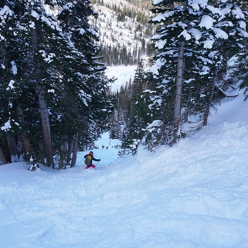 A backcountry skiier drops into a snowy chute on a guided ski tour in Rocky Mountain National Park.
