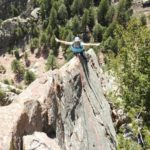 Becky high on Icarus in Eldorado Canyon
