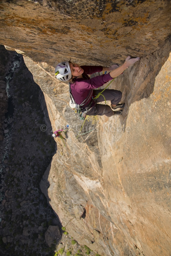 Madaleine Sorkin climbing in the Black Canyon of the Gunnison.