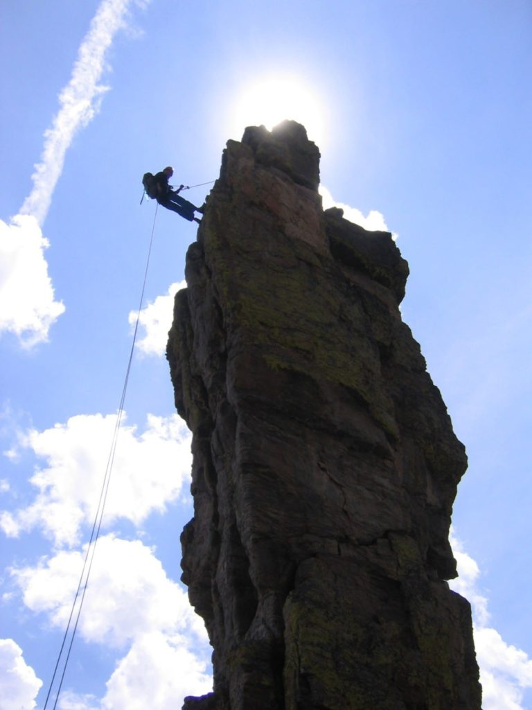 Rappelling off the top of Zowie