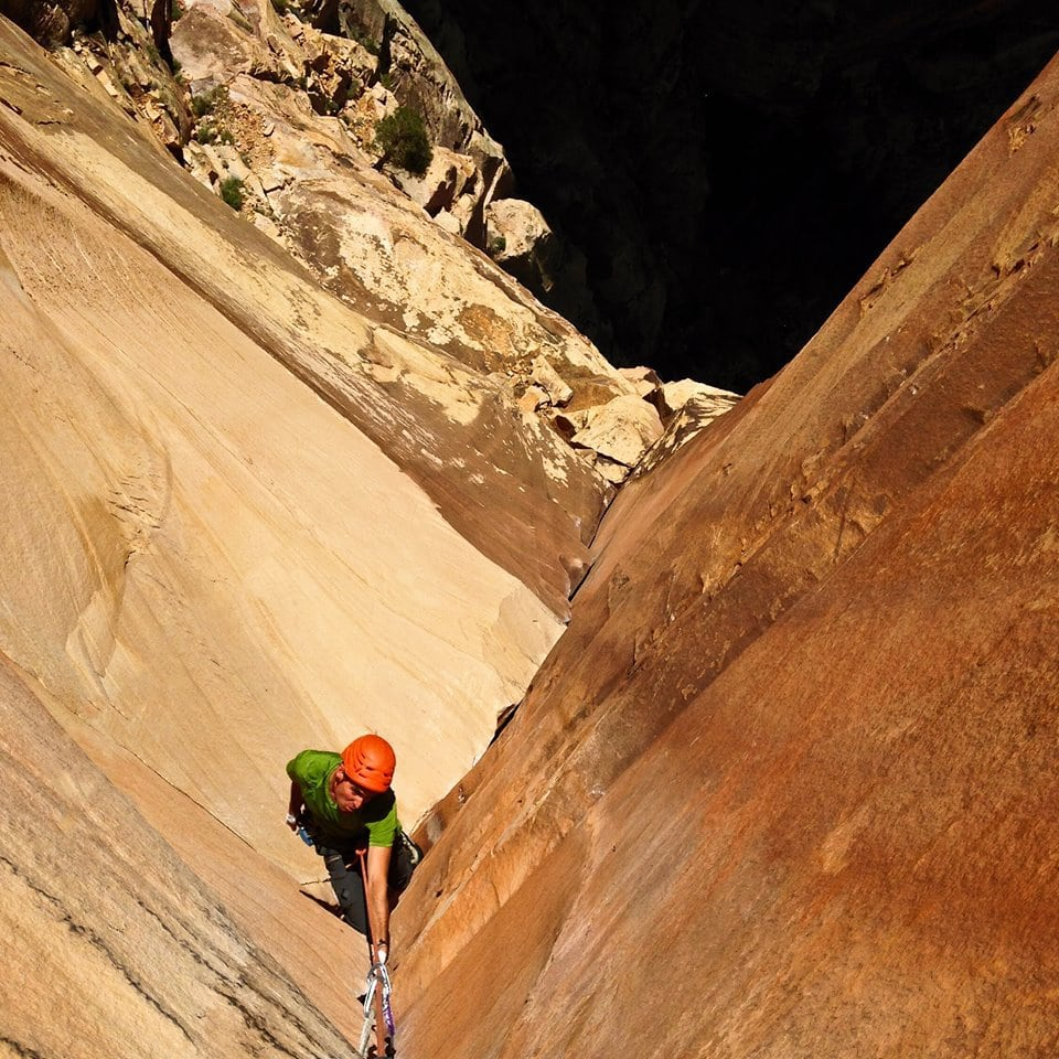 CMS Guide Rainbow Weinstock making his way up some nice sandstone.
