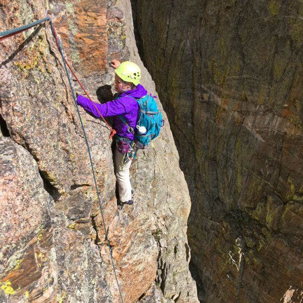 A climber works follow a pitch high on The South Face of the Petit Grepon, a Classic North American Climb in Rocky Mountain National Park.