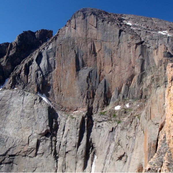 A view of The Diamond on Longs Peak - the highest alpine big wall in the lower 48.