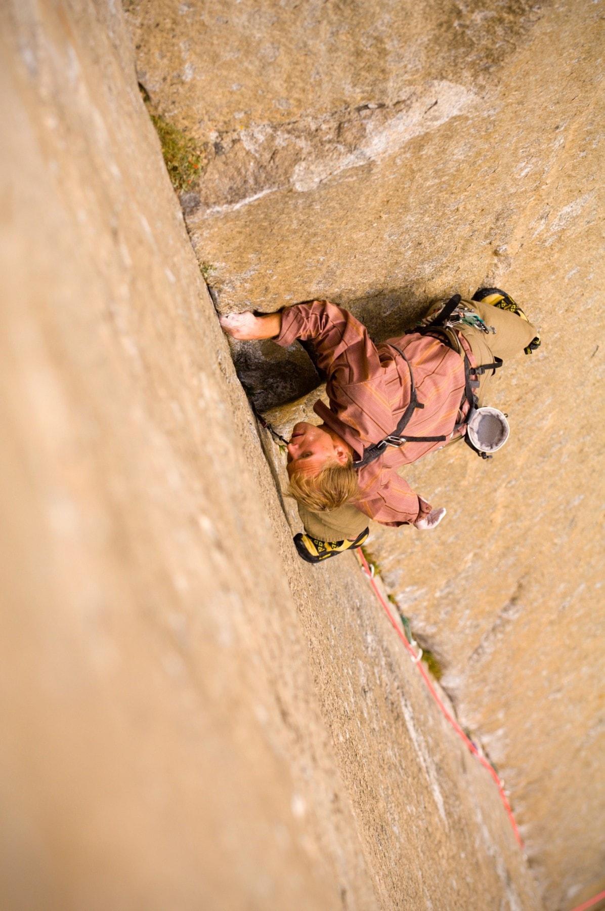 Justen Sjong on The Free Muir 5.13c El Capitan, Yosemtie NP CA