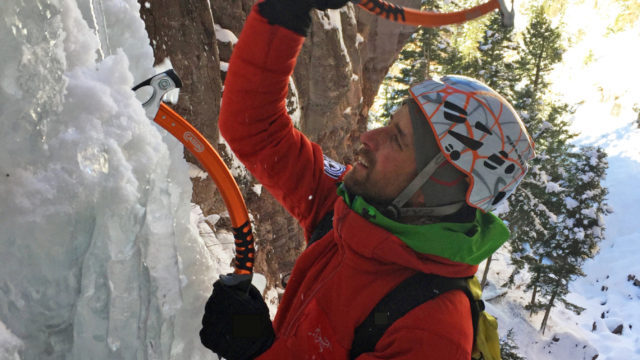Cassin Ice Tools. CAMP Helmet and IFMGA guide Mike Soucy.