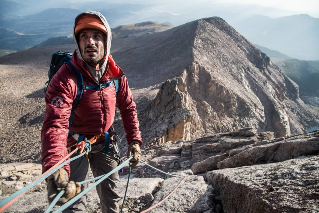 Technical climbing up the North Face of Longs Peak