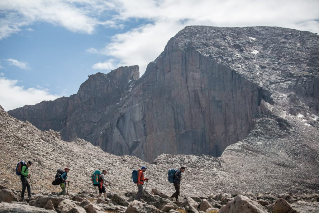 Hiking up Longs Peak