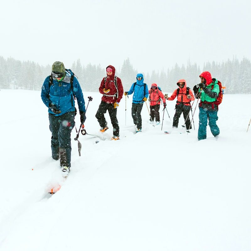 Students practice a beacon search on an AIARE Level 1 avalanche class in Rocky Mountain National Park, Colorado.