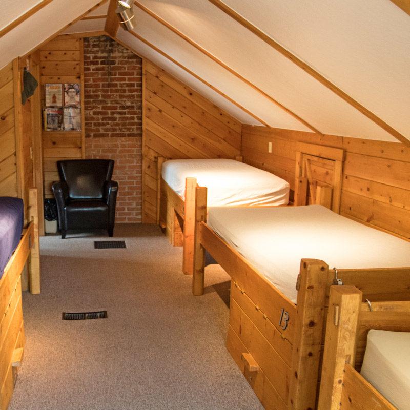 The east bedroom at Estes Park Adventure Hostel.