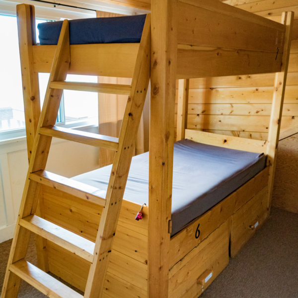 Bunk beds at the Estes Park Adventure Hostel.