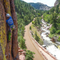 AMGA Certified Rock Guide Eric Whewell climbing on the Bastile in Eldorado Canyon. Climbing in Colorado with Colorado Mountain School Rock Climbing Camps.
