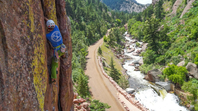 AMGA Certified Rock Guide Eric Whewell climbing on the Bastile in Eldorado Canyon. Climbing in Colorado with Colorado Mountain School.