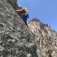 Andy Hansen climbing in the La Sportiva TX3 approach shoes.