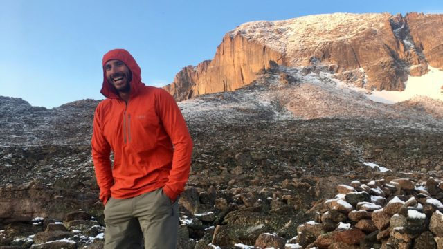 Max Lurie RAB Boreas Pullover Gear Review. Guiding Longs Peak in Rocky Mountain National Park.