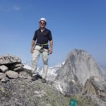 CMS Guide Mark Hammond Guiding in the Bugaboo's while wearing RAB Merino + Hoody.