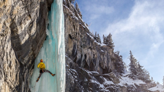 Waterfall ice climbing in the Canadian Rockies.