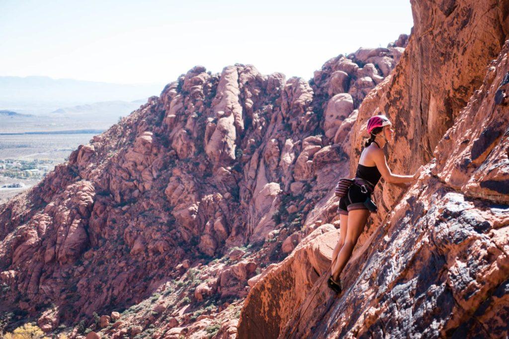 A female climber in Red Rocks, Nevada