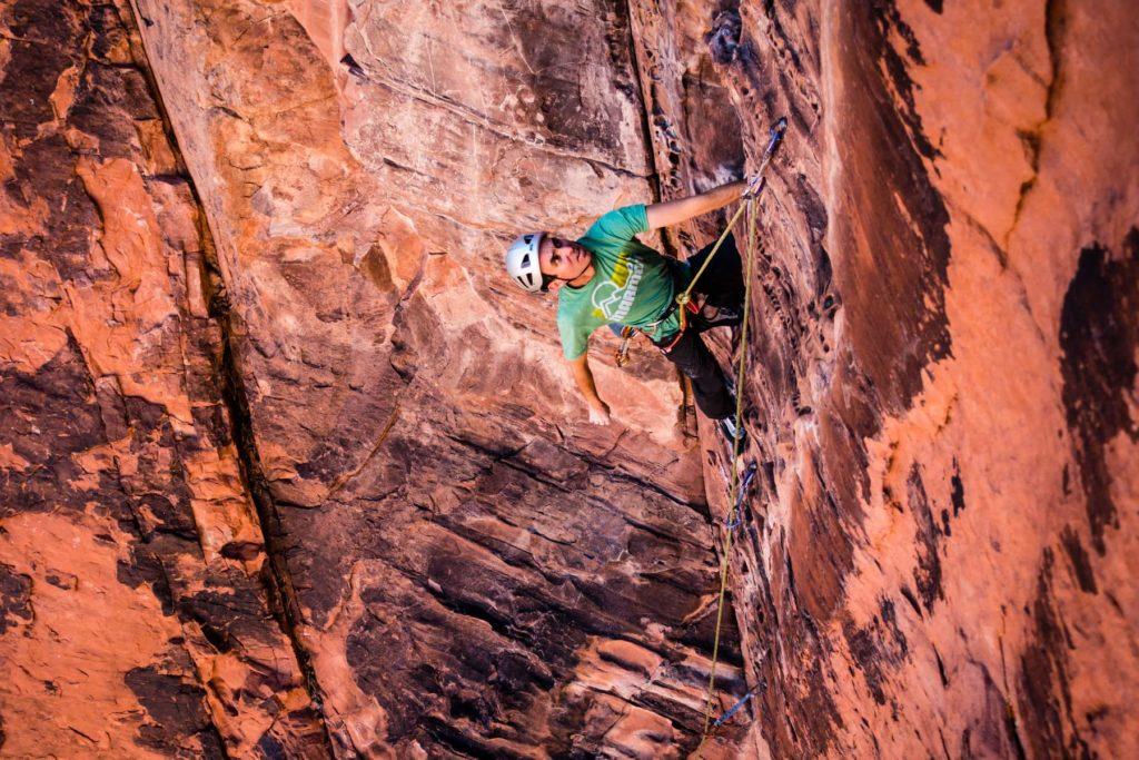 CMS guide Rainbow Weinstock climbing in Red Rocks, Nevada