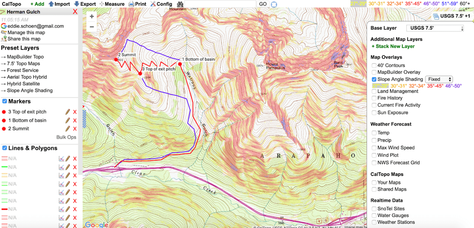 Caltopo or other topographic mapping apps or print-outs can help you determine the right route for your tour legs.