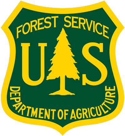 A logo of the United States Forest Service.