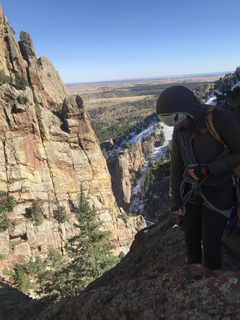 Colorado Mountain School guide Mike Soucy guided his client in Eldorado Canyon State Park on a warm Fall Day