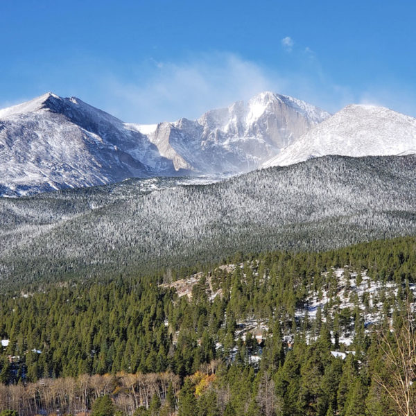 Longs Peak as seen from Dao House. Dao House offers adventure packages that include rock climbing and Longs Peak experiences.