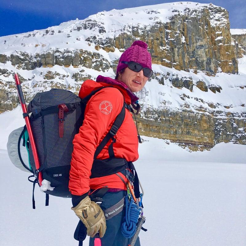 Colorado Mountain School Guide, Sarah Janin, on a backcountry skiing trip in Colorado.