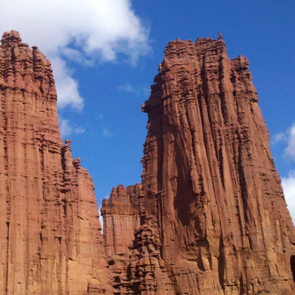 The Fisher Towers stand tall in the desert near Moab, Utah.