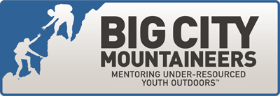 Logo for Big City Mountaineers - one of Colorado Mountain School's adventure fundraising partners.