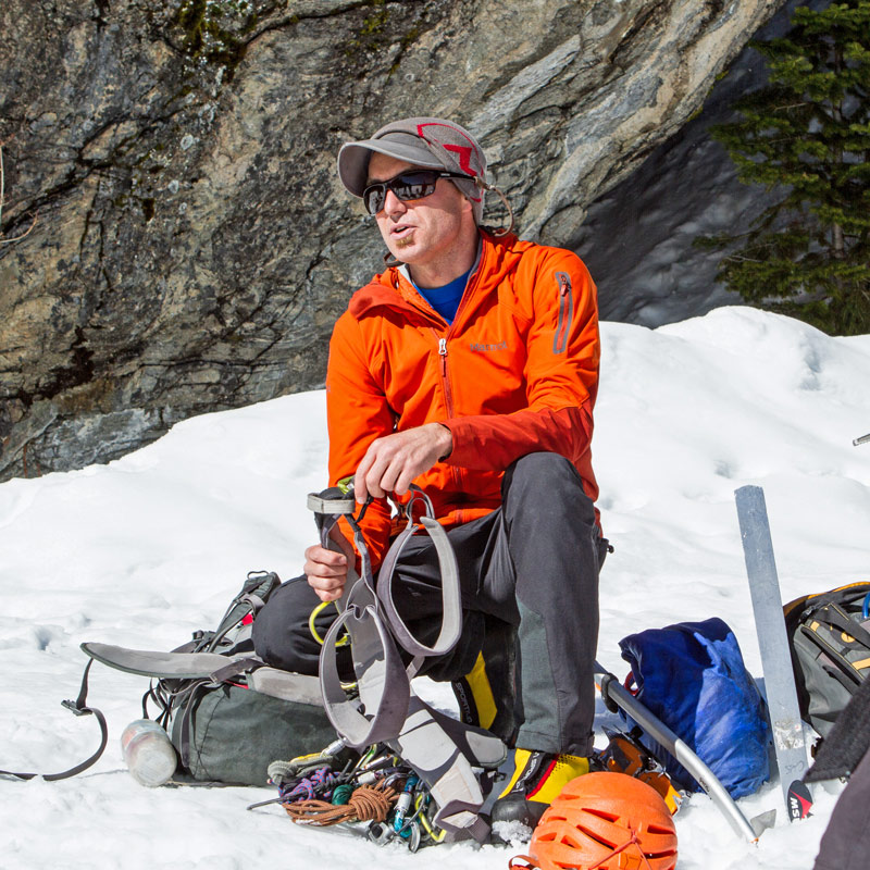 Colorado Mountain School Instructor, Rainbow Weinstock, teaches a lesson on mountaineering equipment during a Mountaineering Basics course in Rocky Mountain National Park.