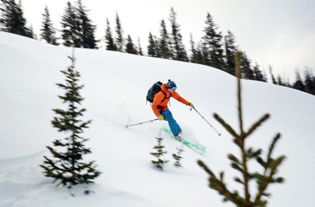 Mike Coyle skis the backcountry in Scarpa Maestrale XT boots.
