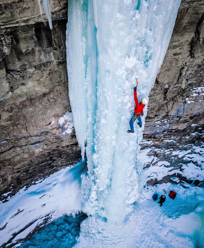 Colorado Mountain School Guide, Japhy Dhungana, leads waterfall ice near Vail, Colorado.