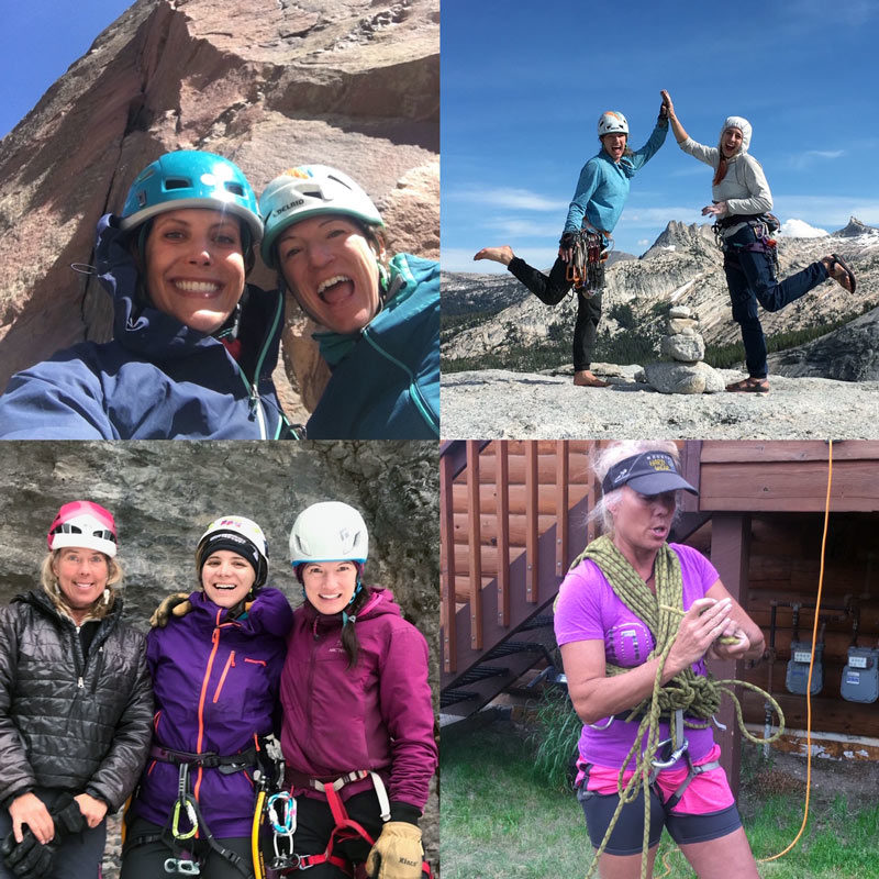 Women rock climbing and celebrating outdoors.
