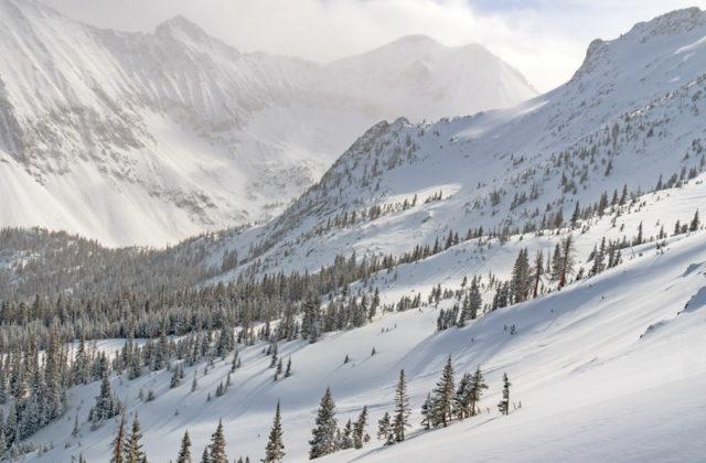 Snowy mountain landscape of Cameron Pass, Colorado.