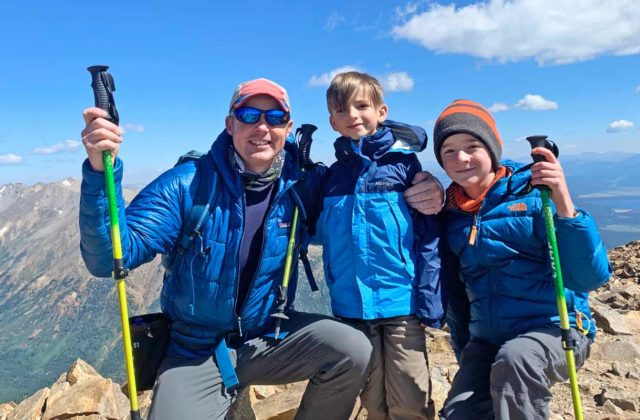 Colorado Mountain School Director of Education, Ron Funderburke, enjoys another spectacular Colorado summit with his sons.